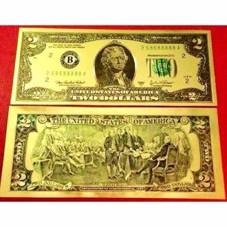 Tiền Đô La 2 USD Mạ Vàng 3D (2 Mặt) May Mắn