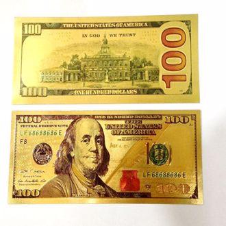 Tiền Đô La 100 USD Mạ Vàng 3D (2 Mặt) May Mắn