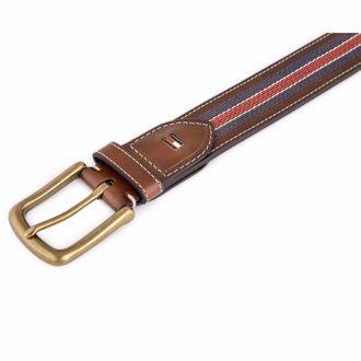 Dây nịt Tommy Hilfiger Men's Casual Belt w/ Centre Stripe Stitch - Tan/Navy/Red(Xách tay chính hãng)