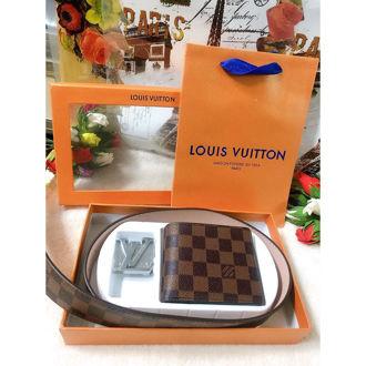 Hình ảnh củaBộ Ví + Dây Nịt Louis Vuitton Ca Rô Nâu
