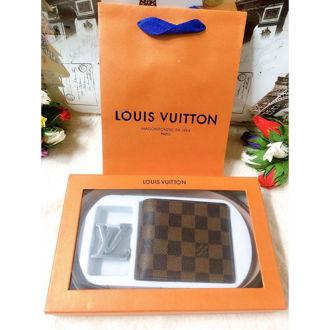Bộ Ví + Dây Nịt Louis Vuitton Ca Rô Nâu